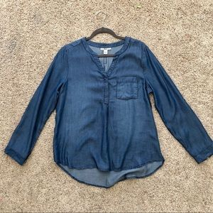NWOT Bass Lyocell denim blouse